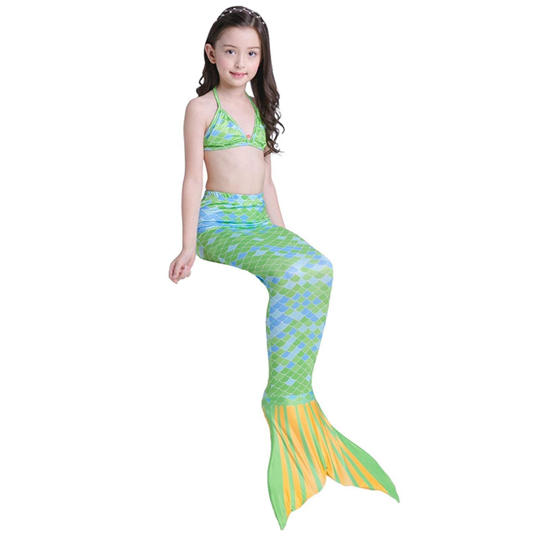 cdae110156a97 Liveinu Girls Swimsuit Cute Mermaid Tail Swimwear Princess 3Pcs Bikini Set  for 3-10 Year