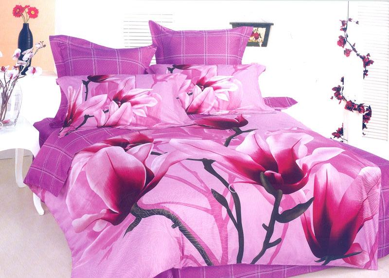 promotion 100 cotton reactive print 3d bed sheet set 4pcs king size duvet cover flat sheet and. Black Bedroom Furniture Sets. Home Design Ideas