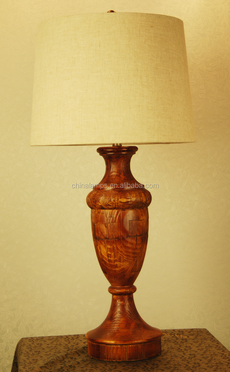 Wood Base Table Lamp Electrical Wooden Table Lamp In Black With ...