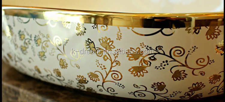 Above Counter Wash Sink Plating Ceramic Gold Art Basin