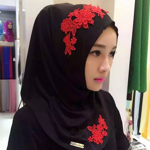 Customized Pattern Factory Sale New Muslim Design Multicolor Floral Embroidery Lace Edges Muslim Hijab Scarf