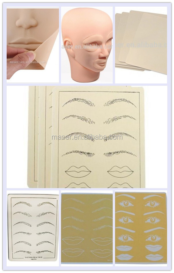 Hot sale rubber eyebrow lip tattoo fake skin cheap tattoo for Artificial skin for tattooing