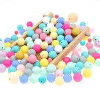 9mm 12mm 15mm 19mm Wholesale Food Grade BPA Free Baby Chew Chomp Round Soft Safe Teething Silicone Beads For Jewelry Making