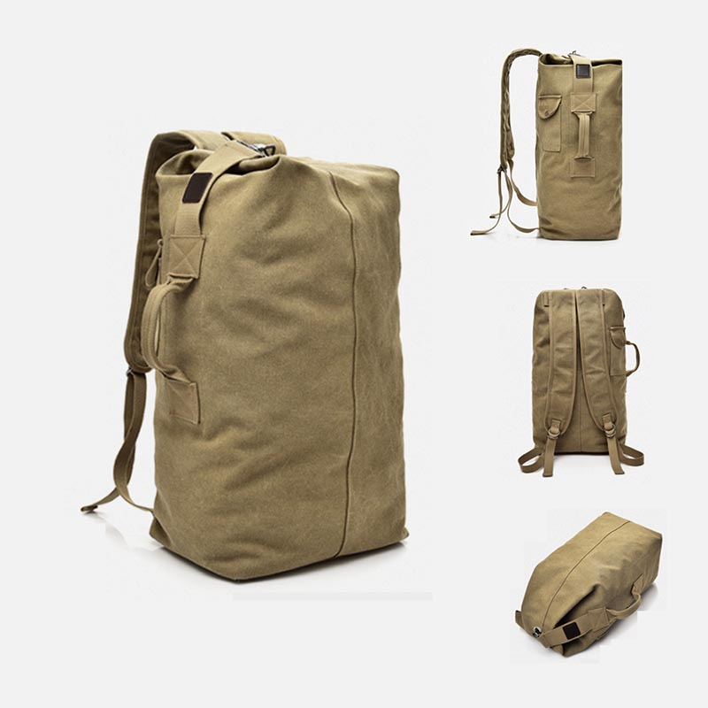 Wholesale Outdoor Military Duffel Bag Top Load Double Strap Canvas Backpack Travel