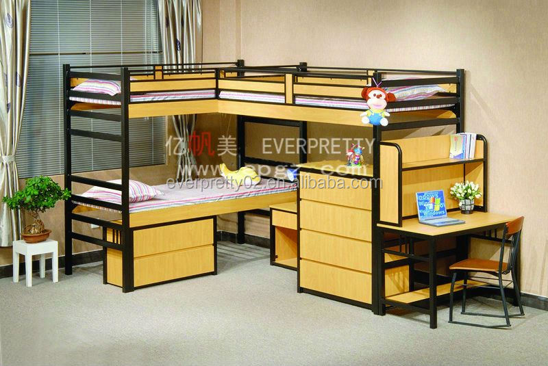 Cheap and Portable Kids Furniture Bedroom Bunk Bed for Thee Person with Cabinet