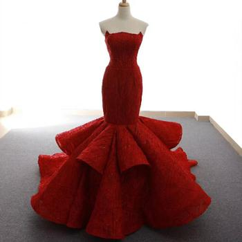 Jancember RSM66614 New Arrival Hot Selling Elegant Mermaid Strapless Hot Red Long Prom Evening Dress
