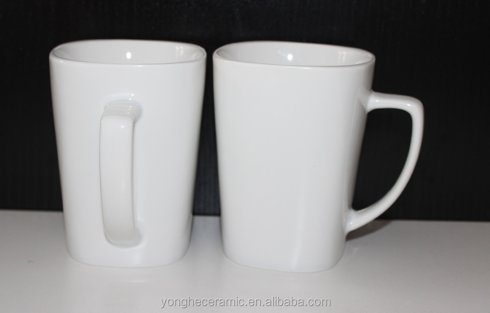 High Quality Factory Wholesale Printable Porcelain White Square Coffee Mugs