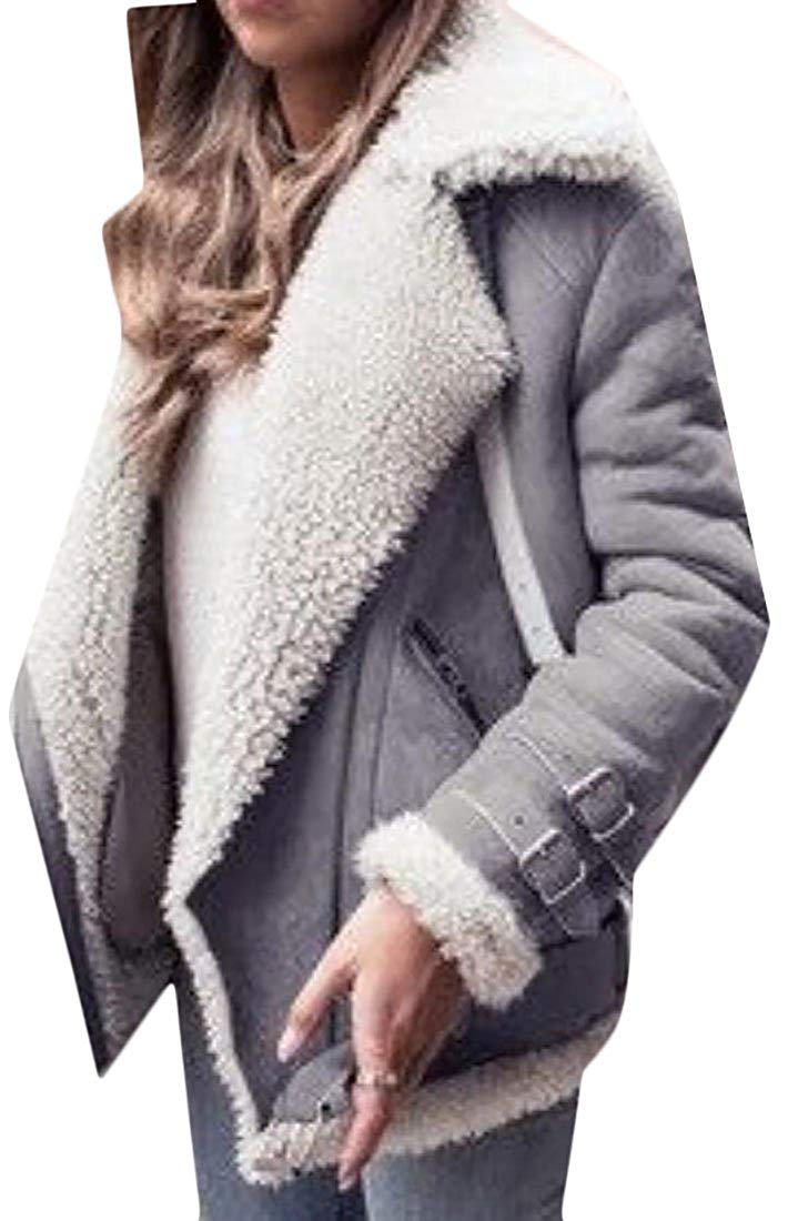 YUNY Women Oblique Zipper Lapel Fleece Lined Faux Suede Warm Jacket Coats