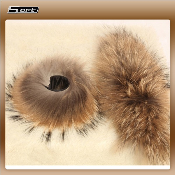 Natural Color Fox Raccoon Fur Cuff for Ladies Down Coat Accessory