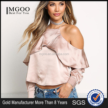 MGOO 2017 Latest Designs Women Satin Blouses Tops Plain Fashion Off Shoulder Crop Custom Ruffles Shirts
