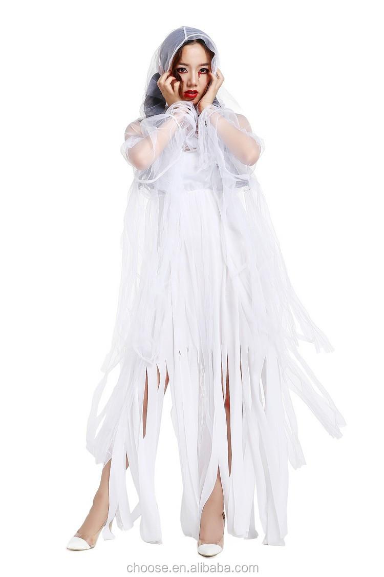 2017 quality women halloween costume long dress zombie ghost bride
