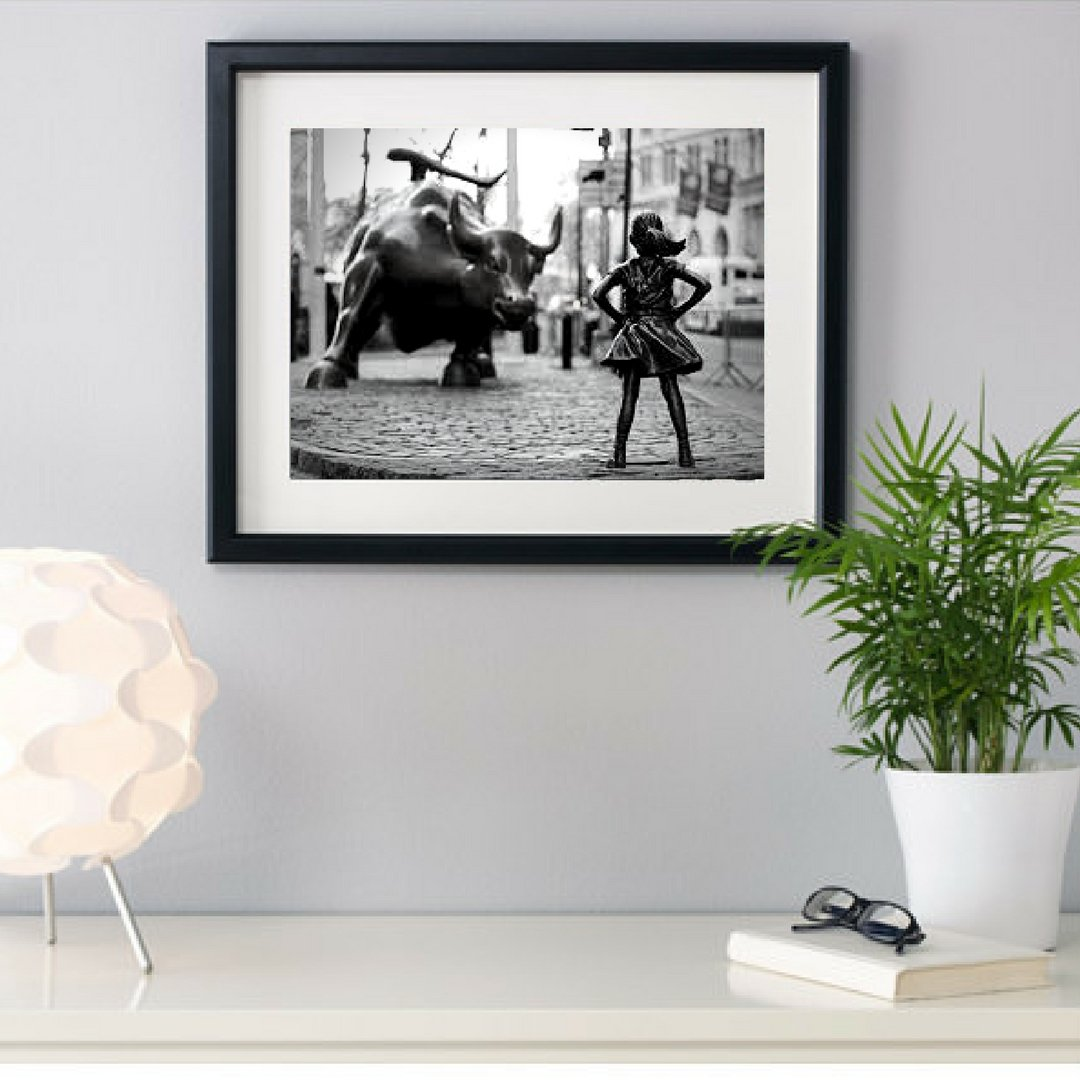 Get quotations · fearless girl statue feminist gift new york framed framed art art