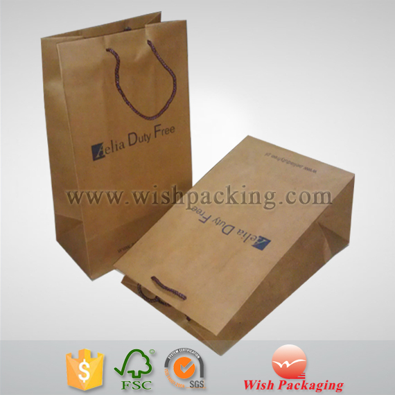 Heavy weight capacity Natural brown kraft recycle paper shopping bag