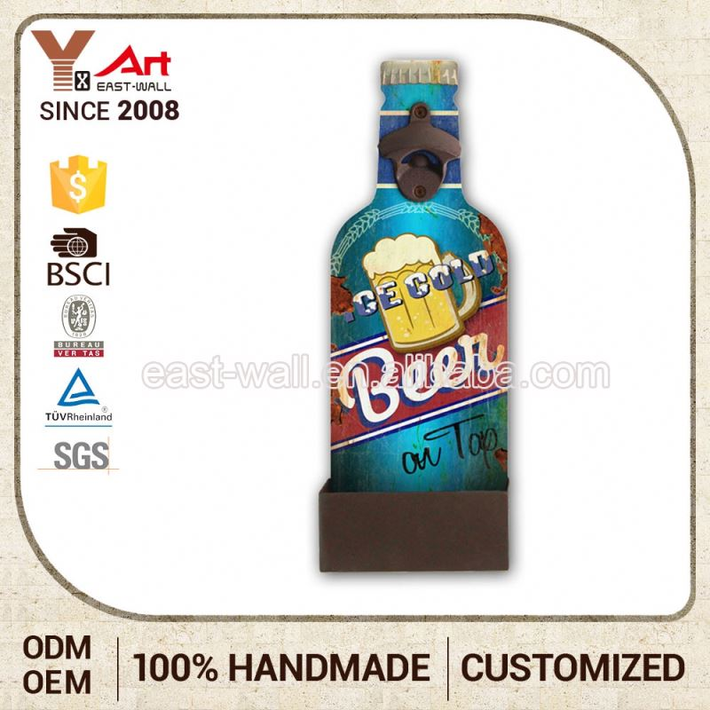 Top Quality 2016 Latest Design Customized Logo Beer Floating Bottle Opener Iron