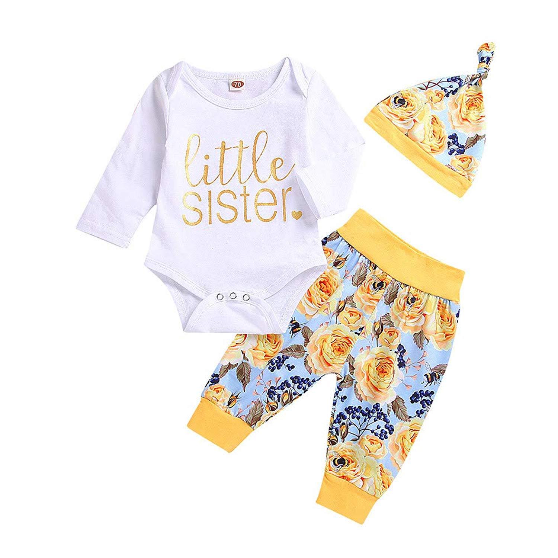 97636f575da Get Quotations · Tronet 3PCS Baby Girls Winter Letter Print Romper  Jumpsuit+Floral Pants+Hat Infant Fashion