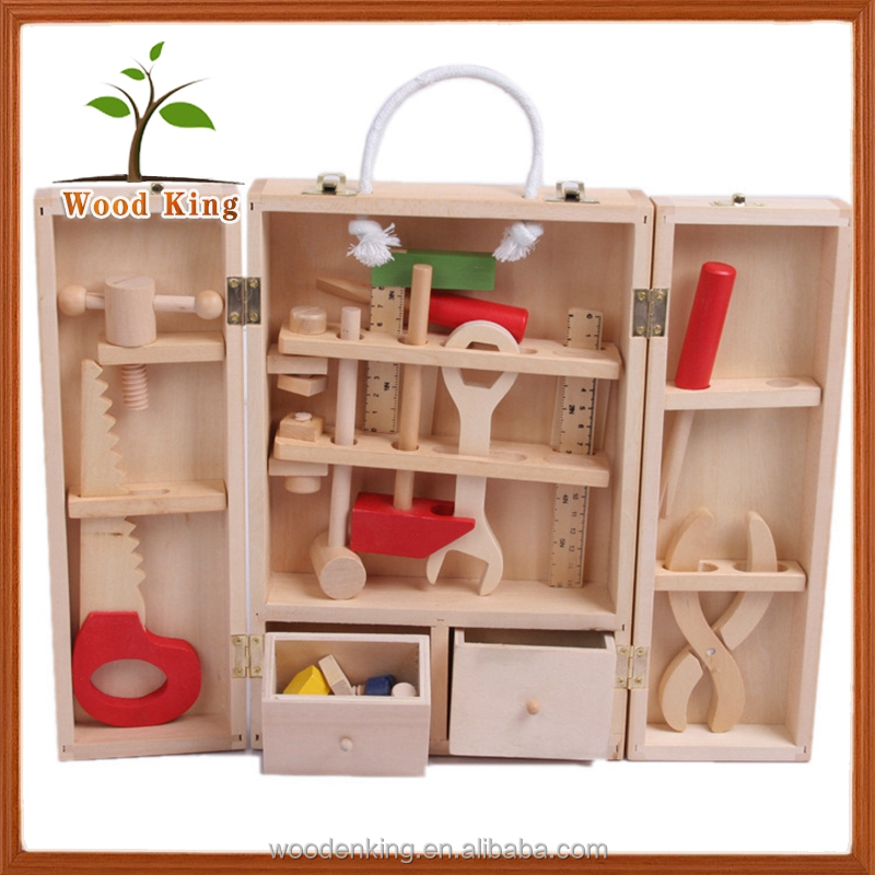 Children Kids Boy'S Toolbox Classical Intelligence Educational Small Mini Wooden Toys Car Kit Bricolage Tool Set Toy