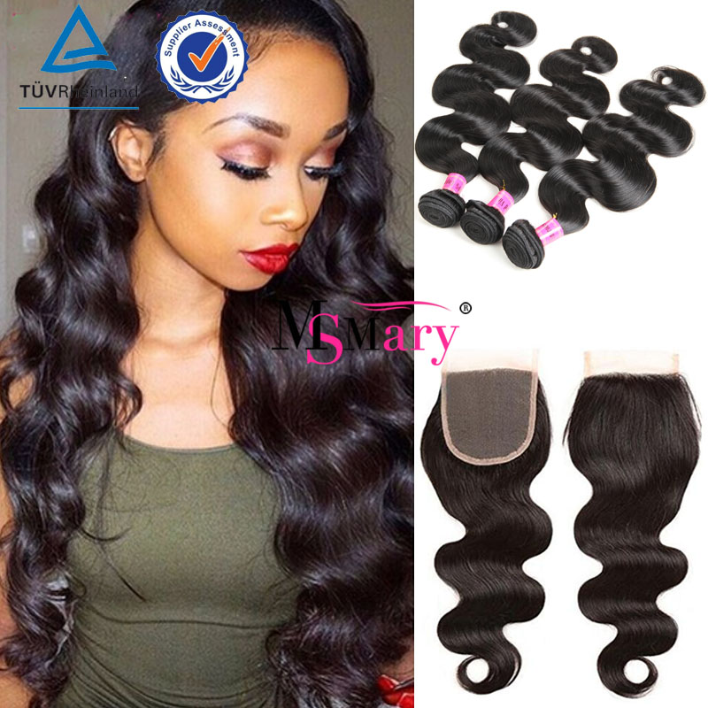Raw Indian Hair Frontal Wholesale Virgin Indian Body Wave 3 Bundles With Free Part Lace Closure