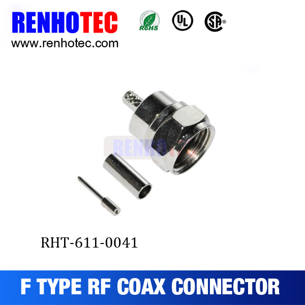 Straight F Type Male Plug Coax Cable Connector