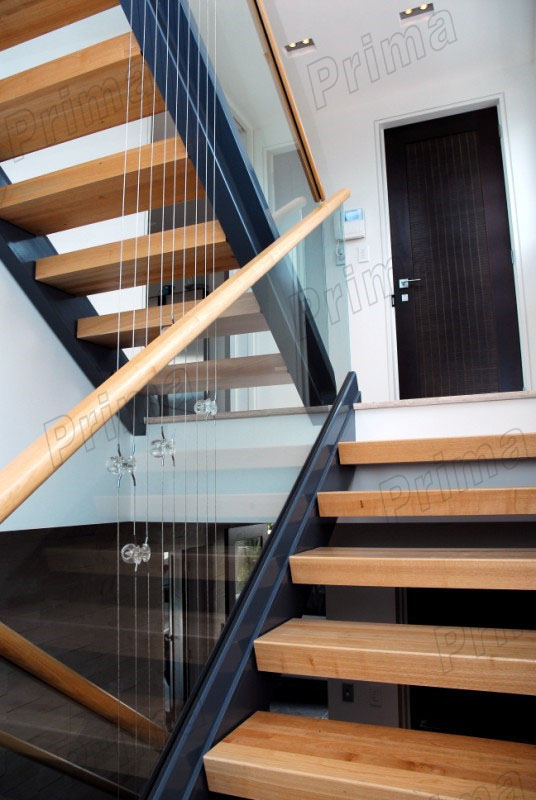 House Steel Staircase With Double Stringer Design