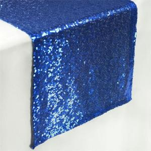 ZQ011 Royal Blue Sequin Heavy Beaded Modern Table Runners Ornate Table Cloth