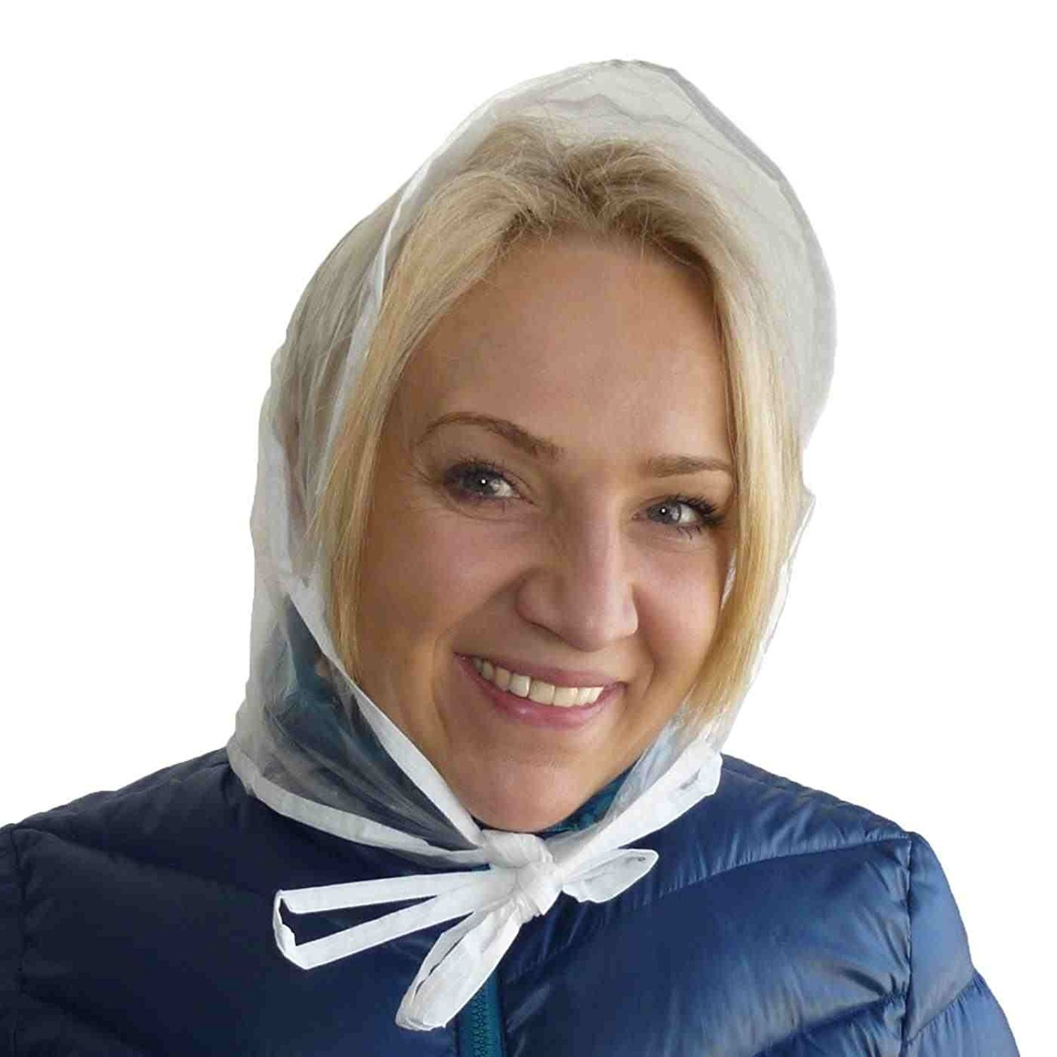 fc03b46c7f57c Get Quotations · Womens Clear Waterproof with Tie Pack of 3 Rain Stoppers  Bonnet Hair Protector