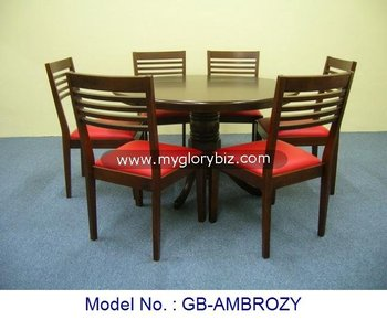 Solid Wood Round Dining Table And Red Pvc Cushion Chairs In 1 6 For Home Indoor Furniture From Malaysia With Stylish Design