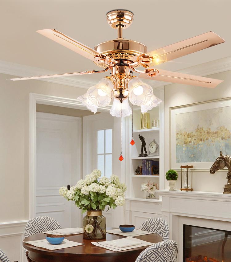 Verwonderend Woonkamer Fancy Kroonluchter Rose Gold Ventilator Lamp Plafond TP-16
