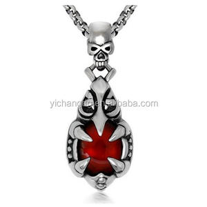 Punk Red Garnet Skull Head Claws Stainless Steel Necklace Pendant, Fashion Skull Pendant Wholesale