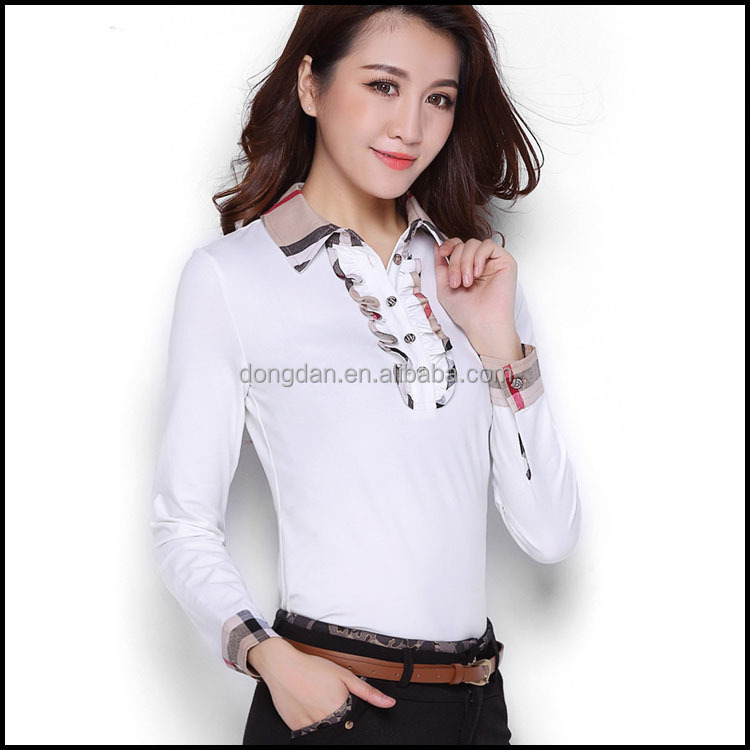 stylish casual fashion women's office uniform design polo shirt or side zip shirt or polo women made you own design