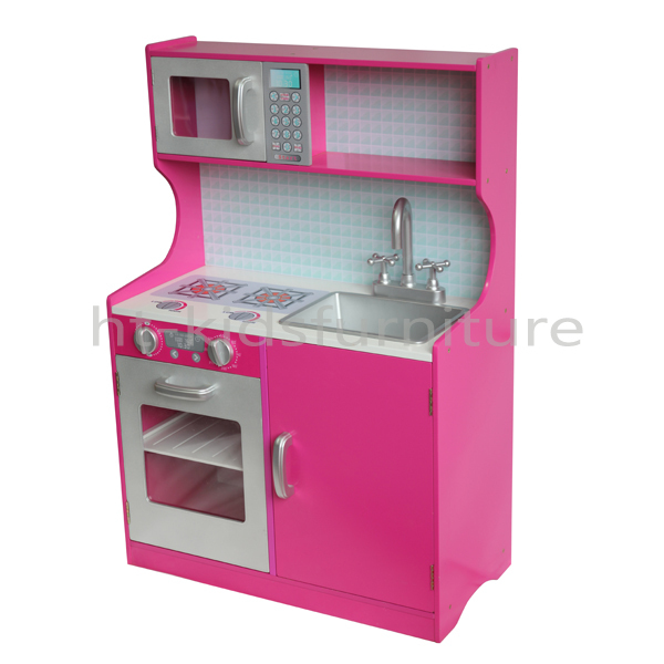 60x29 5x H 88cm Pink Screen Print Mdf Kids Kitchen Set Toy With Abs