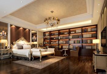 Luxe Interieur Ontwerp : Luxe exquisite interieur voor villa slaapkamer met bibliotheek d