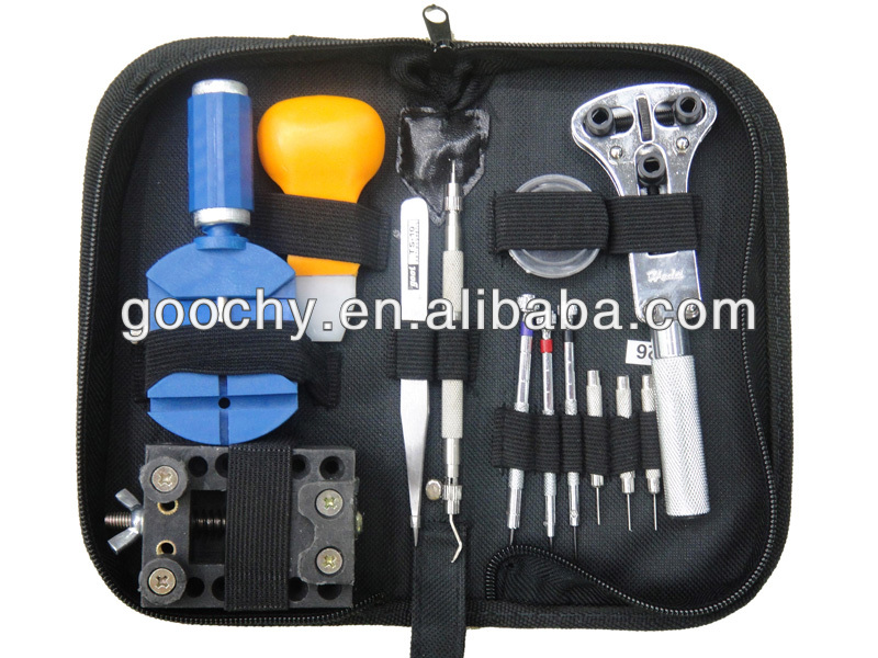 good quality 13pcs watch repair tool kit zipper case with big watch opener tools for reparing tools