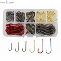 150pcs 9146 High Carbon Steel Fishing Hooks Red Black Gold Tea Aberdeen Bait Fishhooks Set With