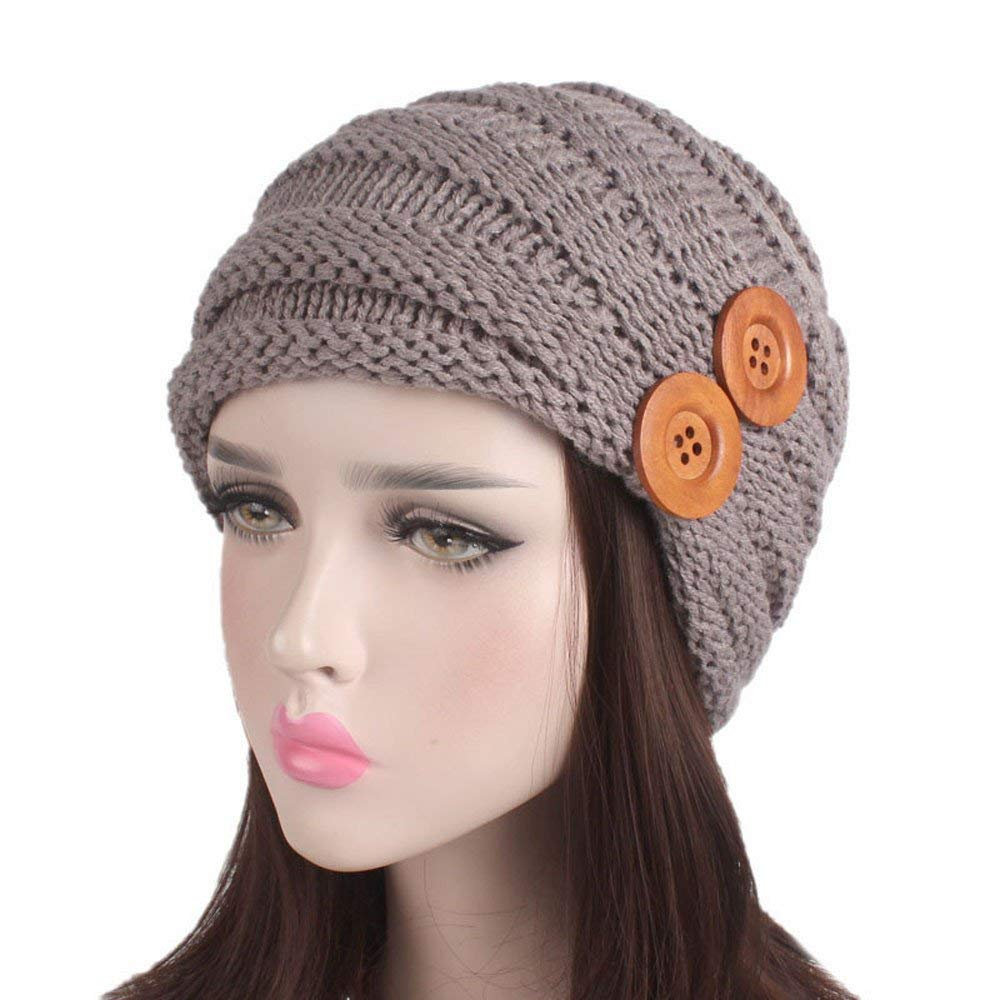 675a02b990e Get Quotations · Shybuy Winter Women Juniors Stylish Beanie Cabled Checker  Pattern Knit Hat with Two Button Decor Cap