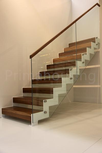 pasamanos de madera vidrio railling interna escalera residencial escalera de metal