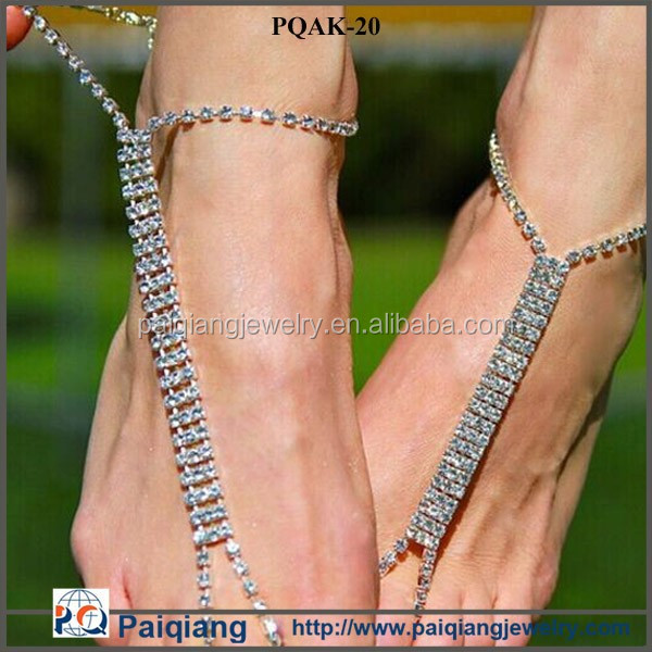 2015 Fashion latest design elegant silver rhinestone wedding bridal anklet