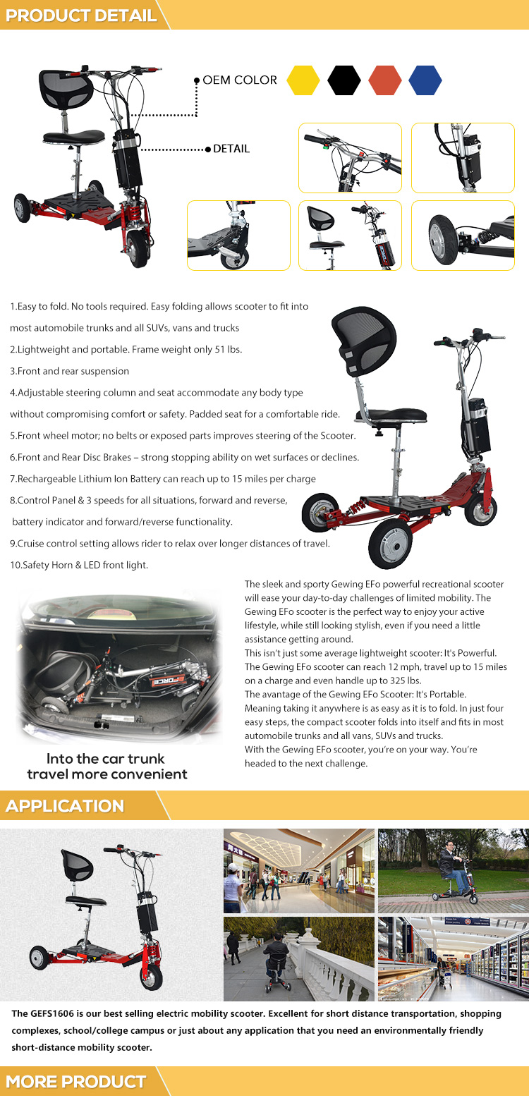 CE Approved Customize Mobility Electrical Handicap Motorized Scooter Seats
