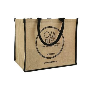 Factory sale OEM quality eco-friendly square bottom jute shopping bag with black round handle
