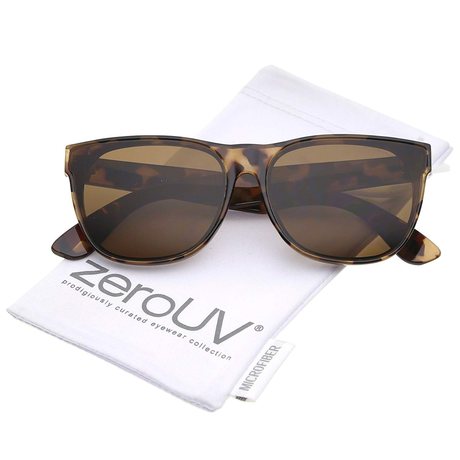 3ad01a078 Get Quotations · Retro Oversize Wide Temple Square Flat Lens Horn Rimmed  Sunglasses 60mm