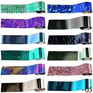 Perfect Summer 12pcs Salon Nails Art Designs Minx Nails Wraps Foils Sheets Holographic Sealer Colors Stickers #05