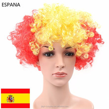 Party World Cup Crazy Football Match Fans red yellow red Afro Wig