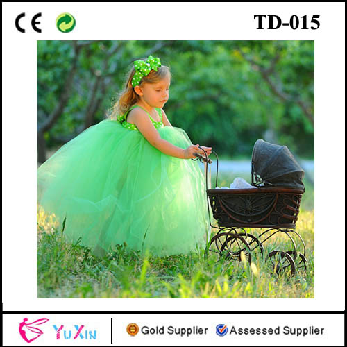 Turquoise Green tutu for girls with white dot tank top dress