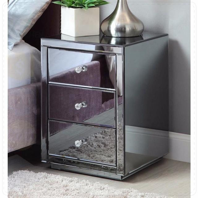 Drei Schubladen Moderne Grau Glas Gespiegelt Nachttisch