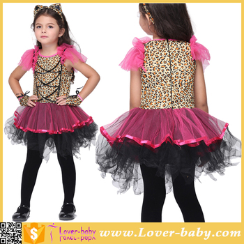 kids girls animal cat costume ballerina leopard cosplay suits halloween dresses