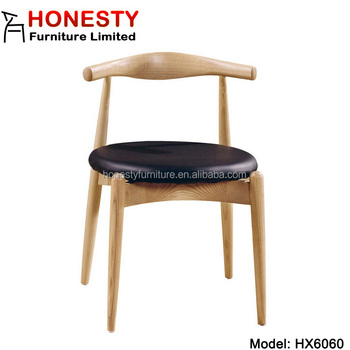 HX6060 Modern Solid Wood Danish Design Armless Side Home Goods Round PU  Seat Dining Room Hans