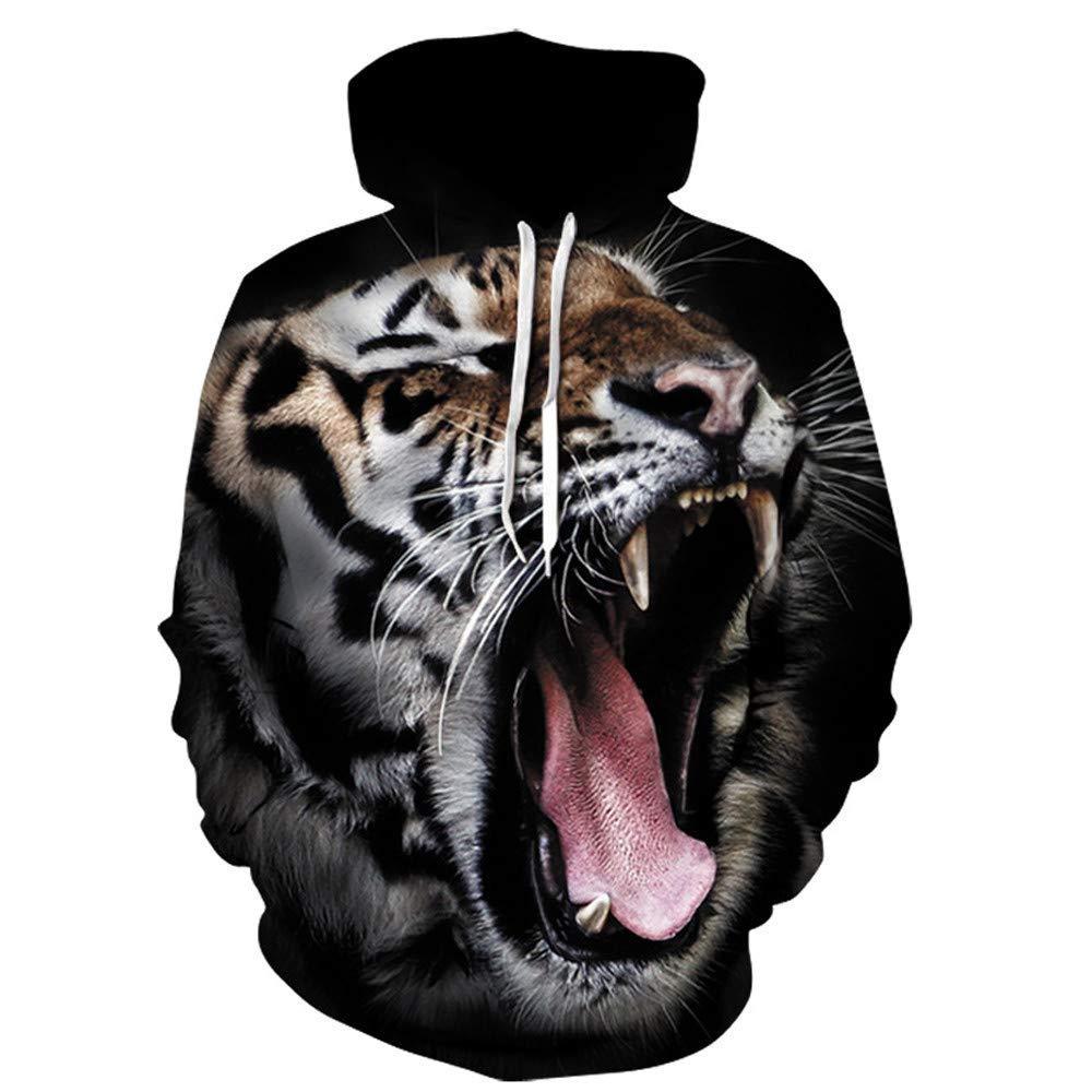 d189c50bcfc9 BCDshop Adult Men Hooded Sweatshirt 3D Tiger Print Novelty Trendy  Drawstring Hoodies Tops