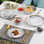 WKTDS04 luxury wedding gold plated 16 pieces 20 pcs dinnerware marble dinner set porcelain