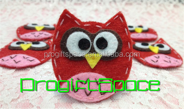 2018 felt baby owl in red/baby pink for Christmas decoration made in China
