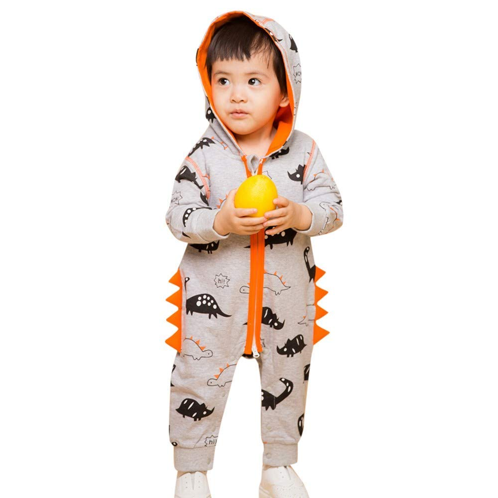 a7c8902aaad2 Get Quotations · ❤️Mealeaf❤ Newborn Baby Boys Girls Dinosaur Zipper Hooded  Romper Jumpsuit Outfits Clothes (