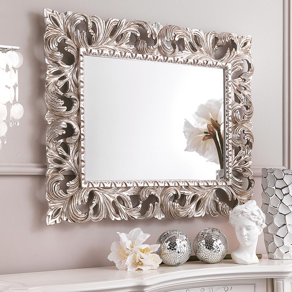 Богато украшенный серебряной фольгой Rococo рама из нержавеющей стали настенное зеркало